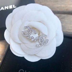 Tiny silver crystal cc logo earrings